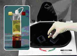 The blood is centrifuged to separate its components and concentrate the plasma